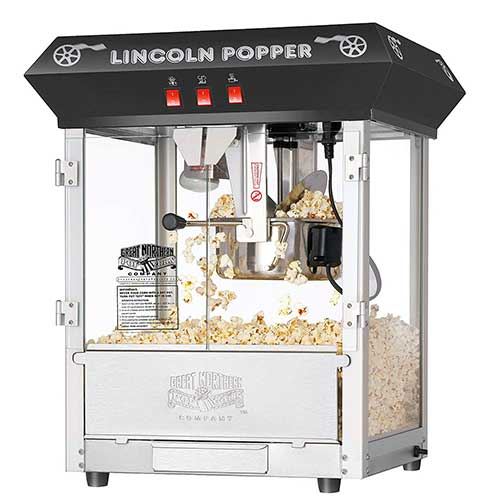 4. Great Northern Popcorn Black Bar Style Lincoln 8 Ounce Antique Popcorn Machine
