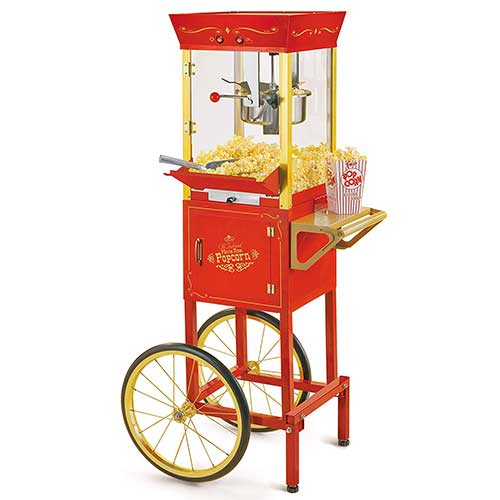 10. Nostalgia CCP510 Vintage Professional Popcorn Cart-New 8-Ounce Kettle-53 Inches Tall-Red