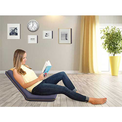 4. bonVIVO Easy II Padded Floor Chair with Adjustable Backrest, Comfortable, Semi-Foldable Folding Chair