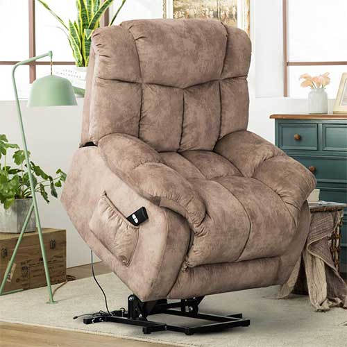 1. CANMOV Power Lift Recliner Chair - Heavy Duty and Safety Motion Reclining Mechanism-Antiskid Fabric Sofa Living Room Chair with Overstuffed Design, Khaki