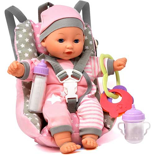6. Baby Doll Car Seat with Toy Accessories, Includes 12 Inch Soft Body Doll