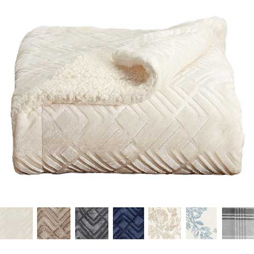 10. Premium Reversible Sherpa and Sculpted Velvet Plush Luxury Blanket