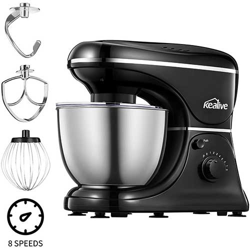 5. Stand Mixer with Stainless Steel Bowl and Wire Whip