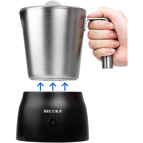 1. Secura 4 in 1 Electric Automatic Milk Frother and Hot Chocolate Maker Machine