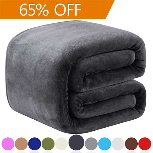 2. Richave Fleece Queen Size Summer Blanket All Season 350GSM Lightweight Throw