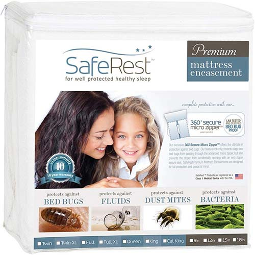 1. SafeRest Premium Zippered Mattress Encasement - Lab Tested Bed Bug Proof, Dust Mite and Waterproof