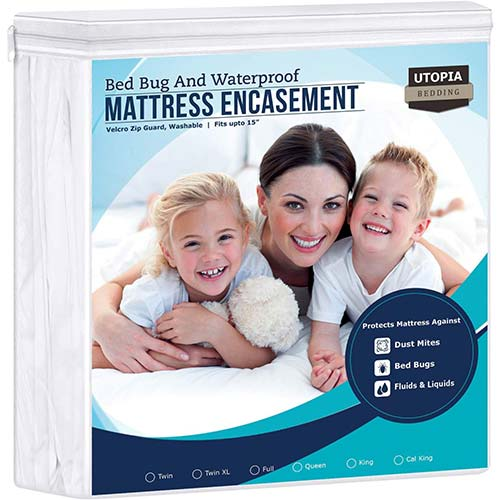 3. Utopia Bedding Zippered Mattress Encasement - Waterproof Mattress Protector