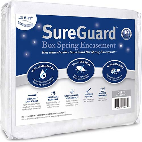 5. Queen Size SureGuard Box Spring Encasement - 100% Waterproof, Bed Bug Proof, Hypoallergenic