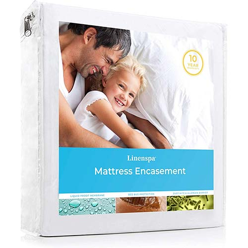 4. LINENSPA Zippered Encasement Waterproof, Dust Mite Proof, Bed Bug Proof, Hypoallergenic Breathable Mattress Protector