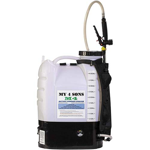 1. M4 MY4SONS 4-Gallon Battery Powered Backpack Sprayer Wide Mouth with Steel Wand and Brass Nozzle