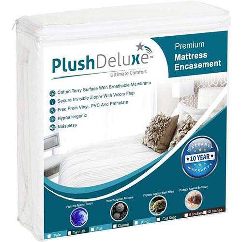 7. PlushDeluxe Premium Zippered Mattress Encasement, Waterproof, Bed Bug & Dust Mite Proof 6-Sided Protector Cover, Hypoallergenic Cotton Terry Surface