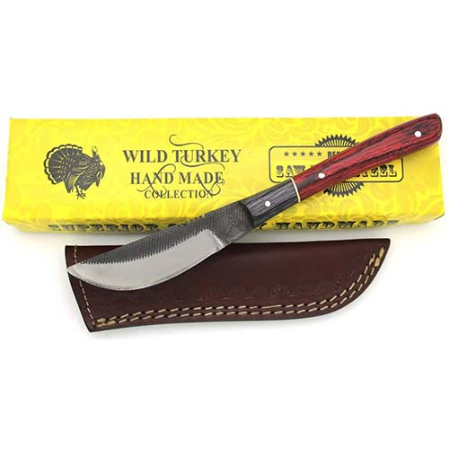 3. Wild Turkey Handmade Full Tang Real File Hunting Knife w/Leather Sheath Outdoors Hunting Camping Fishing Outdoors