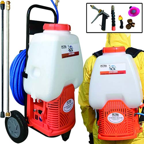 2. Petra Powered Backpack Sprayer with Custom Fitted Cart and 100 Foot Commercial Hose, 2 Hoses Included, Commercial Quality Heavy Duty Sprayer