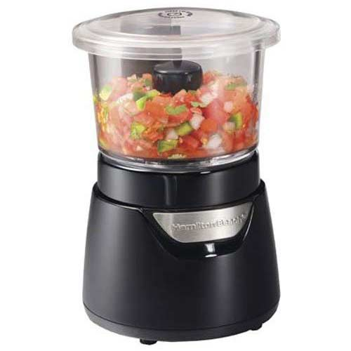 5. Hamilton Beach Stack & Press Mini 3-Cup Glass Bowl Food Processor & Vegetable Chopper, (72860)