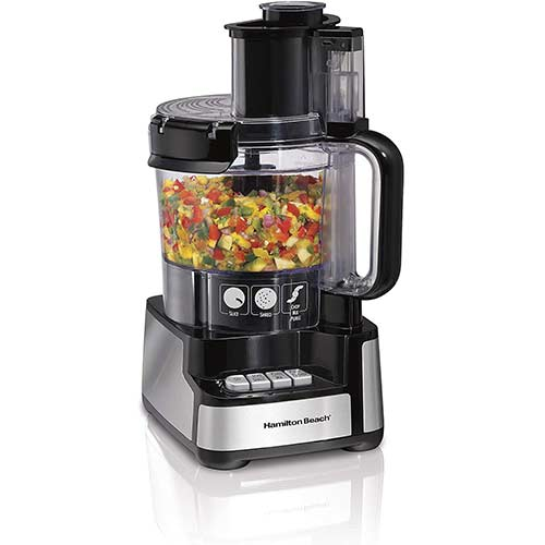 6. Hamilton Beach 12-Cup Stack & Snap Food Processor & Vegetable Chopper, (70725A)