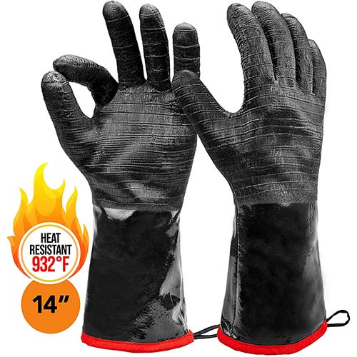 "9. Heat Resistant BBQ Gloves, 14"" Long Sleeve, for Smoker, Grills and Barbecue"