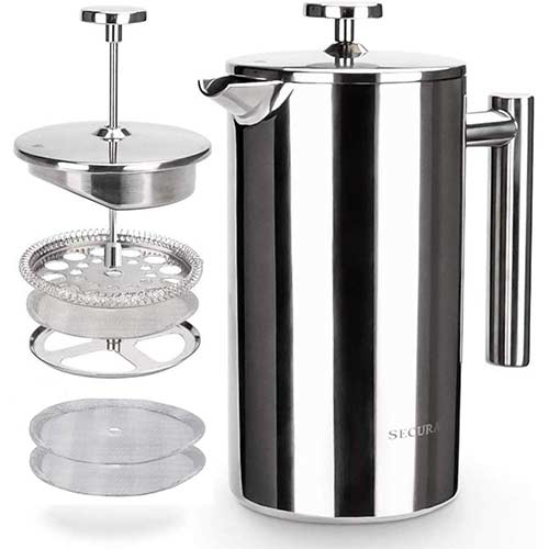 9. Secura French Press Coffee Maker, 304 Grade Stainless Steel Insulated Coffee Press