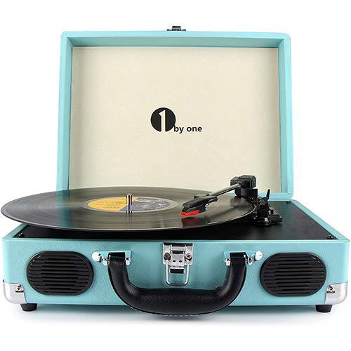 3. 1byone Belt Driven 3 Speed Portable Stereo Turntable with Built In Speakers