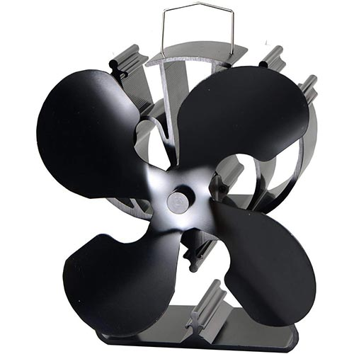 2. VODA 4-Blade Heat Powered Stove Fan