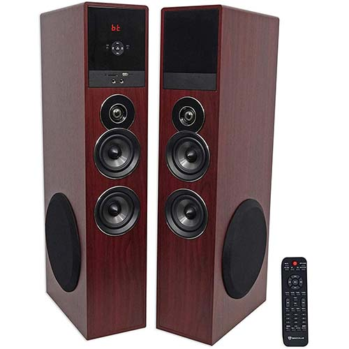 8. Rockville TM80C Cherry Powered Home Theater Tower Speakers