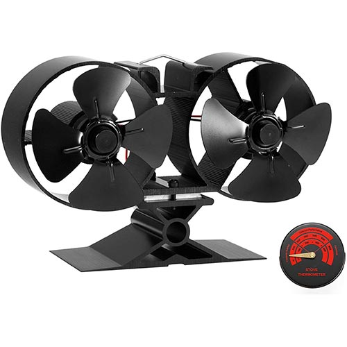 7. CRSURE Fireplaces Stove Fan - Double Motor - 8 Blade Heat Powered Stove Fan
