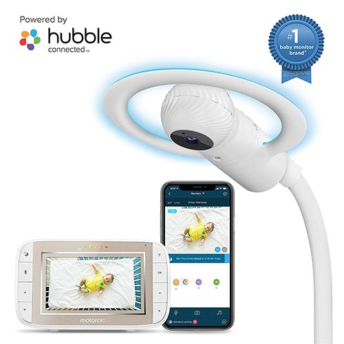 6. Motorola Halo+ Video Baby Monitor - Infant Wi-Fi Camera with Overhead Crib Mount - 4.3-Inch Color Screen