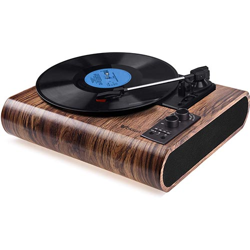10. Record Player, VOKSUN Vintage Turntable 3-Speed Bluetooth Vinyl Player LP Record Player