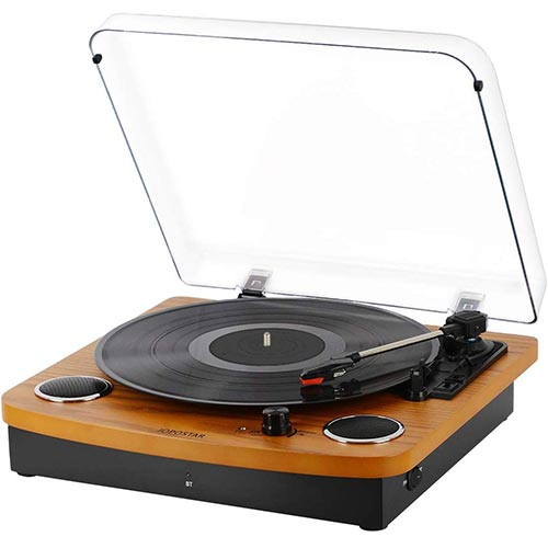 8. Record Player Turntable, Pareiko Vintage Vinyl Record Turntable Player, Bluetooth Record Player with Speaker