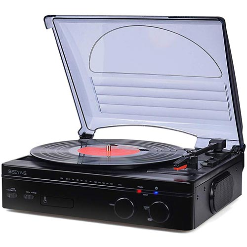2. Record Player Bluetooth Turntable with Stereo Speakers Portable Belt-Driven Nostalgic LP Vinyl Record Player