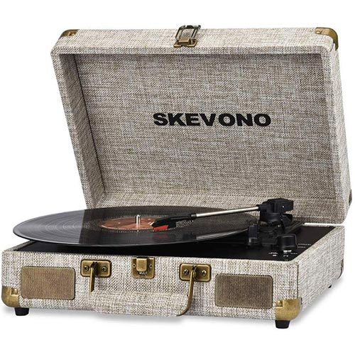 7. Vinyl Record Player, SKEVONO 3 Speed Portable Suitcase Turntable, Bluetooth Vintage Record Player