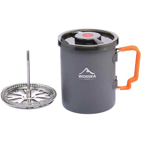 6. WIDESEA Camping Coffee Pot 750ML with French Press Coffee Maker