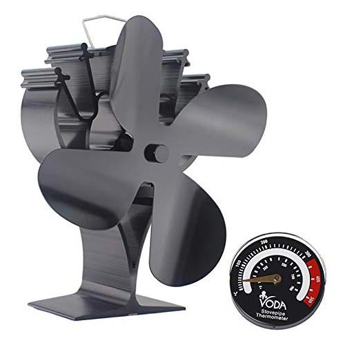 8. VODA Newly Upgrade 4 Blades Heat Powered Stove Eco Fan