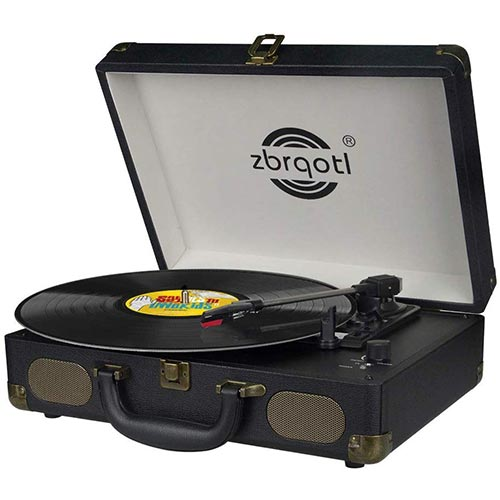 9. Vinyl Record Player - Vintage Suitcase Turntable 3 Speed for 7〞10〞12〞 LP Bluetooth 2 Stereo Speakers