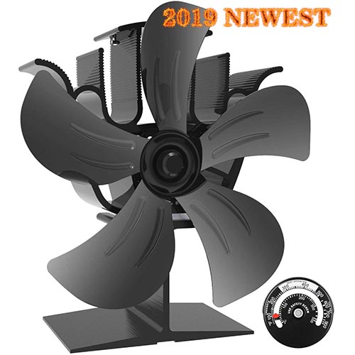 4. KINDEN Wood Burner Fan 5-Blade Heat Powered Stove Fan