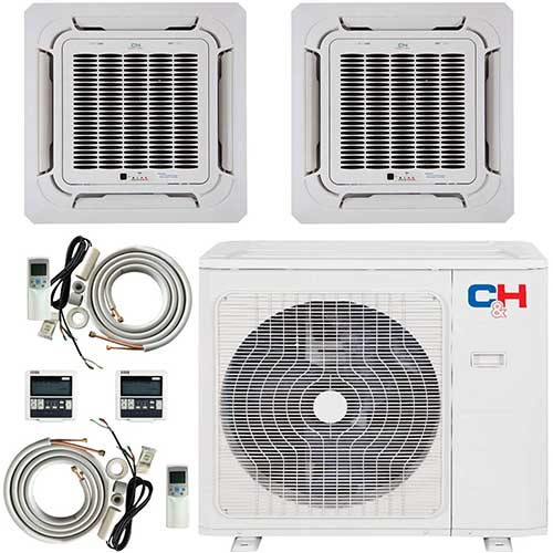 9. COOPER AND HUNTER Dual 2 Zone 9000 12000 Ductless Mini Split Ceiling Cassette Air Conditioner