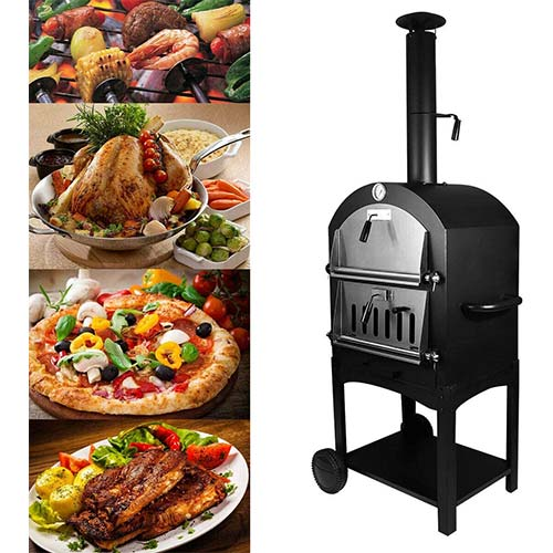9. Tengchang Outdoor Pizza Oven Wood Fire DIY Portable Family Camping Cooker