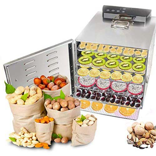 7. Food Dehydrator Machine 6 Trays Stainless Steel Electric Food Dryer
