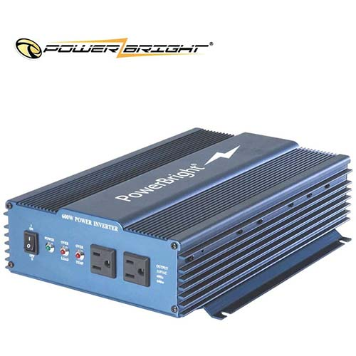 8. PowerBright 24 Volts Pure Sine Power Inverter 600 Watt, True Sine Continuous 24 Volt DC to 120 Volt AC