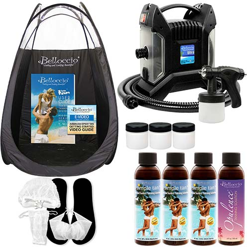 1. Ultra Pro T85-QC High Performance Sunless Turbine Spray Tanning System; Belloccio 4 Solution Variety Pack, Tanning Tent