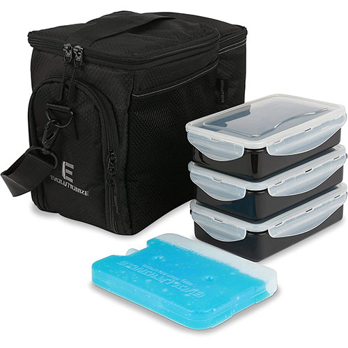10. Evolutionize Meal Prep Insulated Lunch Bag Cooler Bag Patented Lunch Box includes Portion Control Meal Prep Containers