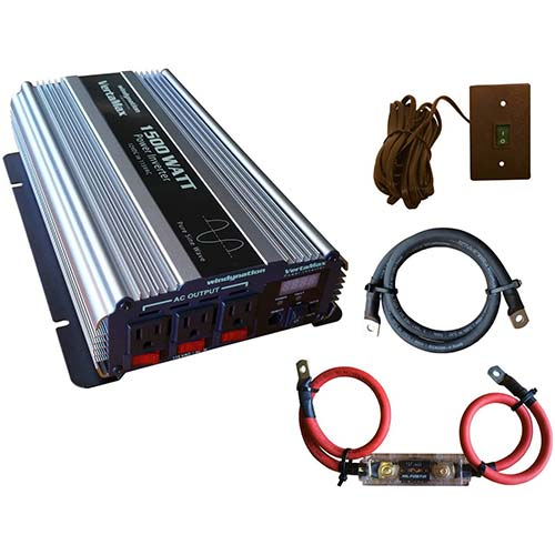 7. VertaMax Pure SINE Wave 1500 Watt (3000W Surge) 12V Power Inverter DC to AC Power