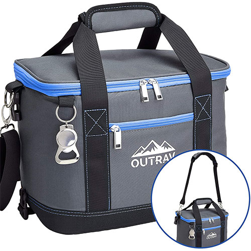9. Collapsible Insulated Cooler Bag – 6L Thermal Lunch Bag with Bottle Opener, 16 Can Capacity