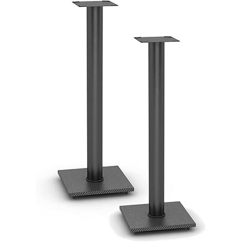 3. Atlantic Adjustable Speaker Stands 2-Pack Black - Steel Construction, Pedestal Style & Wire Management