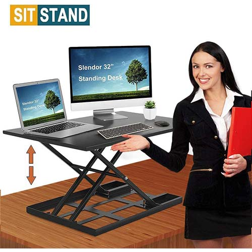 10. Standing Desk Stand Up Desks Height Adjustable 32 inch Sit Stand Converter Dual Monitor Ergonomic Air Riser Laptop Stands