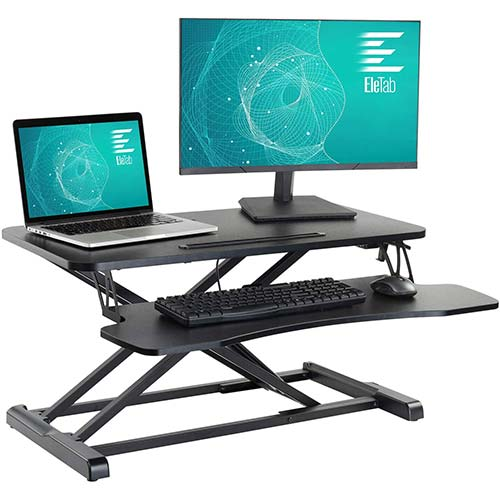 3. EleTab Standing Desk Converter Sit Stand Desk Riser Stand up Desk Tabletop Workstation