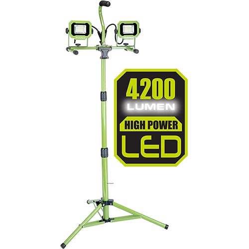 2. PowerSmith PWL2042TS 4200 Lumen Weatherproof Dual Head LED Work Light with Adjustable Metal Telescoping Tripod