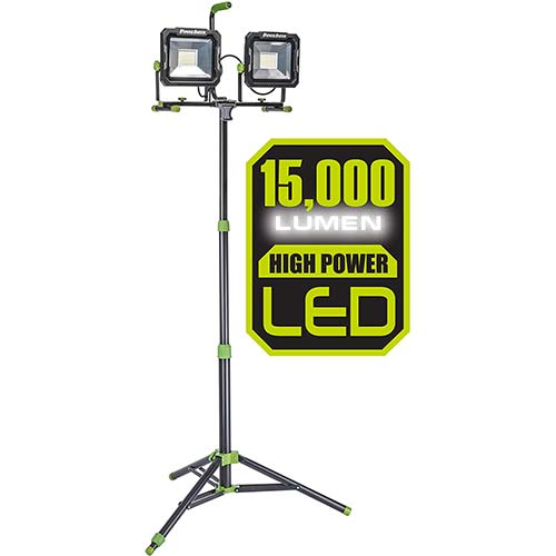 3. PowerSmith PWL2150TS 15000 Lumen Weatherproof LED Dual Head Work Light with Heavy-Duty Adjustable Metal Telescoping Tripod Stand