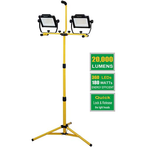 5. DAYATECH 180W 20000 Lumen Dual-Head LED Work Light with Metal Telescopic Tripod Stand