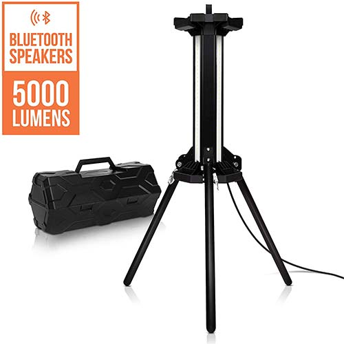 9. PARMIDA LEDSONIC Tower LED Work Light with High-Power Bluetooth Speaker and Tripod Stand