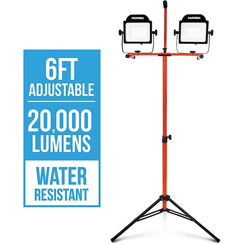 4. PARMIDA LED Dual-Head Work Light with 6ft Adjustable Tripod Stand, 20,000 Lumen, 200W, Durable Aluminum Body